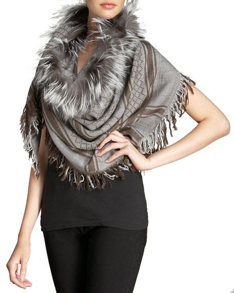 Gucci Survie GG Fox Fur Stole, Lead/Light Gray