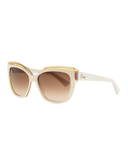 Dior Colorblock Cat-Eye Sunglasses, Ivory/Orange/Pink