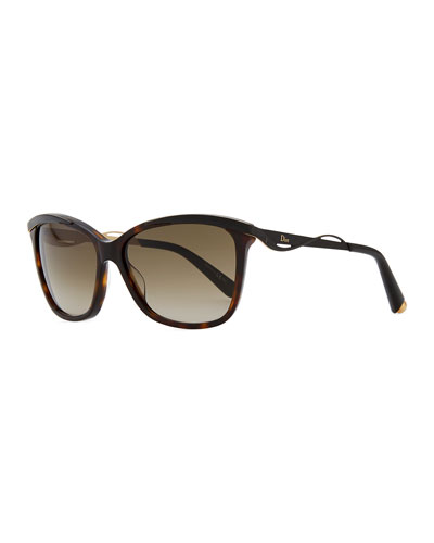 Dior Wave-Arm Sunglasses, Brown