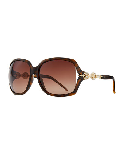Gucci Large Sunglasses with Logo Arm, Brown
