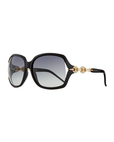 Gucci Large Sunglasses with Logo Arm, Black