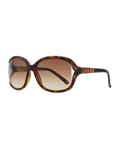 Gucci Large Sunglasses with Bamboo Arm, Brown