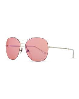 Gucci Round Metal Aviator Sunglasses, Pink/Silver