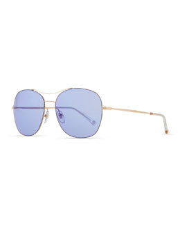 Gucci Round Metal Aviator Sunglasses, Blue/Rose Gold
