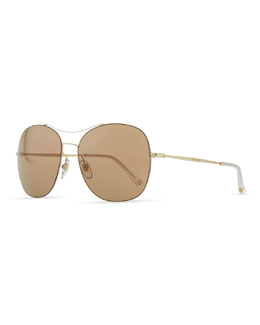 Gucci Round Metal Aviator Sunglasses, Brown/Golden