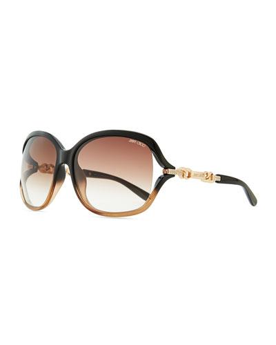 Loop Chain-Detail Ombre Sunglasses, Black/Brown