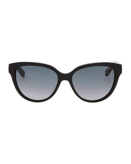 Odetts Plastic Cat-Eye Sunglasses, Black