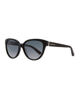 Jimmy Choo Odetts Plastic Cat-Eye Sunglasses, Black