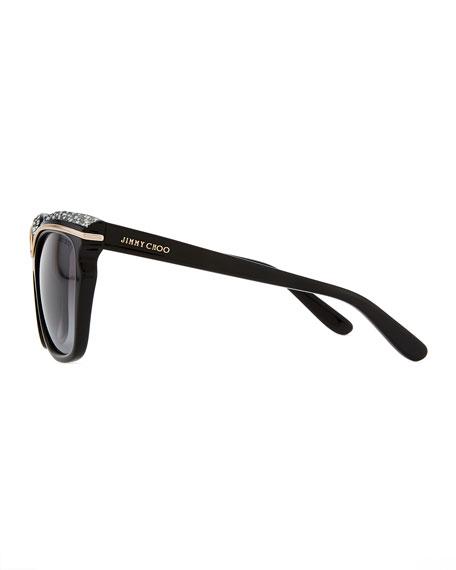 Sophia Embellished Sunglasses, Black