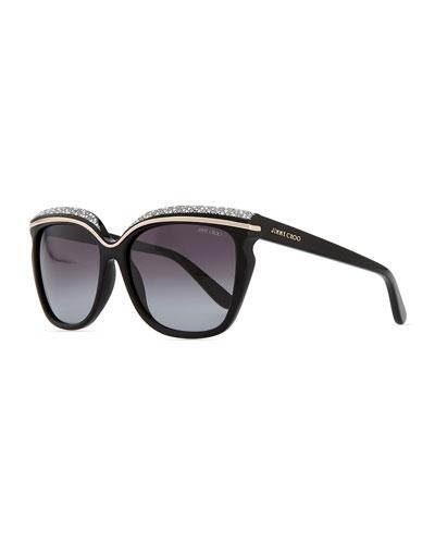 Jimmy Choo Sophia Embellished Sunglasses, Black