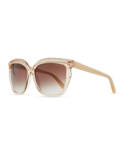Jimmy Choo Sophia Embellished Sunglasses, Nude