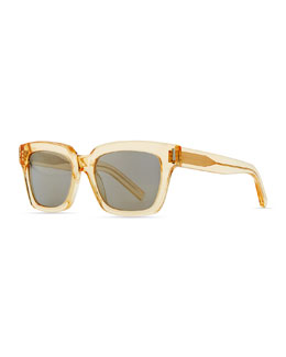 Saint Laurent Bold Transparent Square Sunglasses, Yellow