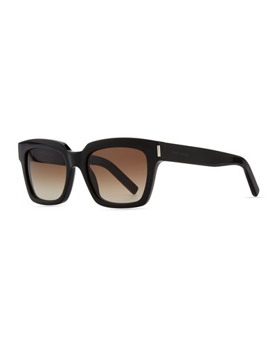 Saint Laurent Bold Transparent Square Sunglasses, Black