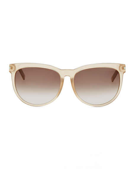 Plastic Sunglasses with Metal Arms, Beige Opal