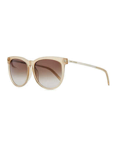 Saint Laurent Plastic Sunglasses with Metal Arms, Beige Opal