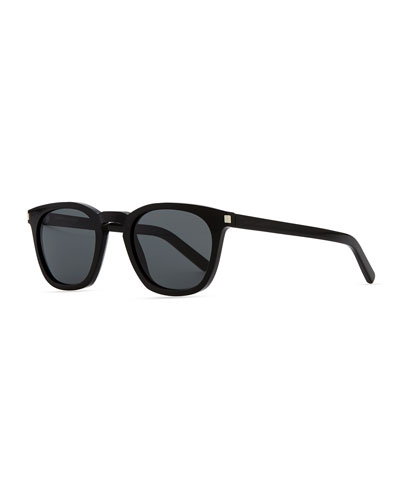 Saint Laurent Plastic Sunglasses with Stud Temples, Black