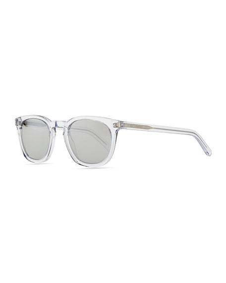 Transparent Plastic Sunglasses with Stud Temples, Crystal Clear