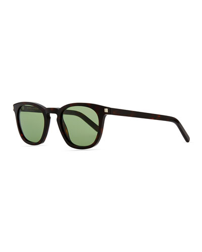 Saint Laurent Plastic Sunglasses with Stud Temples, Havana