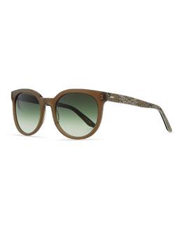 Barton Perreira Baez Squared Sunglasses, Mocha/Snake