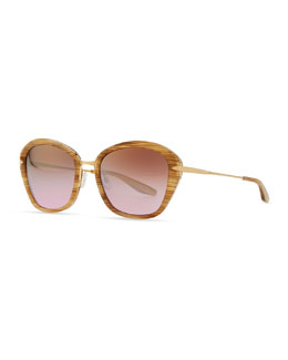Barton Perreira Farr Marbled Acetate & Metal Butterfly Sunglasses, Golden