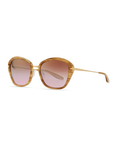 Barton Perreira Farrow with Hornlike Striations Acetate & Metal Butterfly Sunglasses, Horn