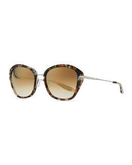Barton Perreira Farr Marbled Acetate & Metal Butterfly Sunglasses