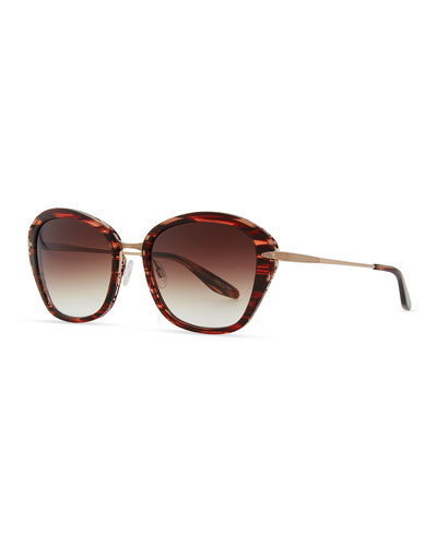 Barton Perreira Farr Marbled Acetate & Metal Butterfly Sunglasses, Red