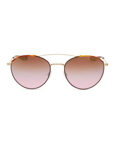 Universal Fit Gamine Round Aviator Sunglasses, Gold/Havana