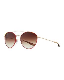 Barton Perreira Gamine Round Aviator Sunglasses, Gold/Red/Havana