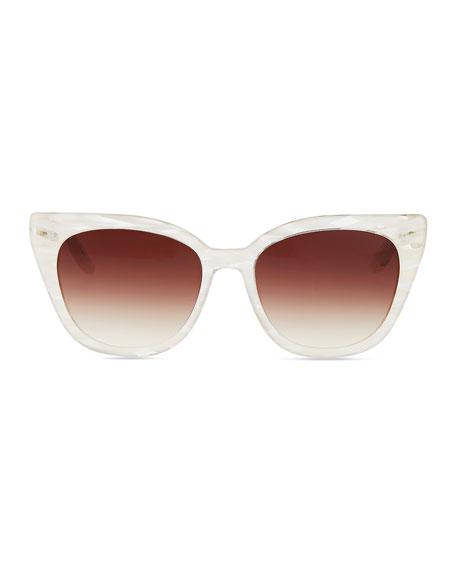 Shirelle Cat-Eye Sunglasses, Pearl