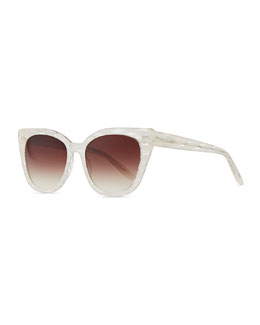 Barton Perreira Shirelle Cat-Eye Sunglasses, Pearl