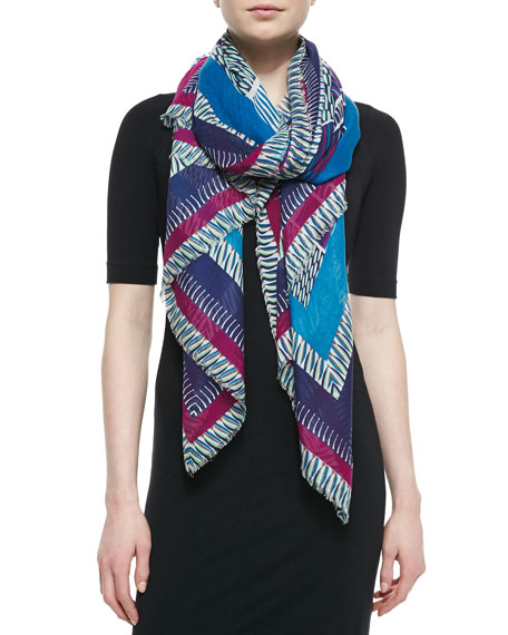 Geometric-Print Striped Hanover Scarf