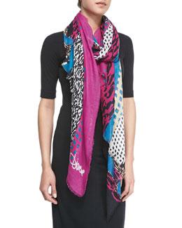 Diane von Furstenberg Textured Collage Hanover Modal Scarf, Pink/Blue/Black