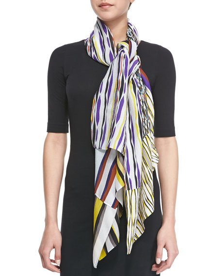 New Boomerang Glass Silk Scarf, Multicolor