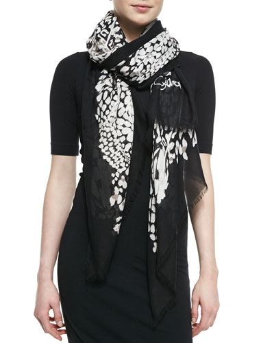 Diane von Furstenberg Grace Feather Leopard Scarf, Black/White