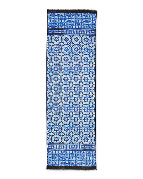 Mosaic-Print Voile Scarf