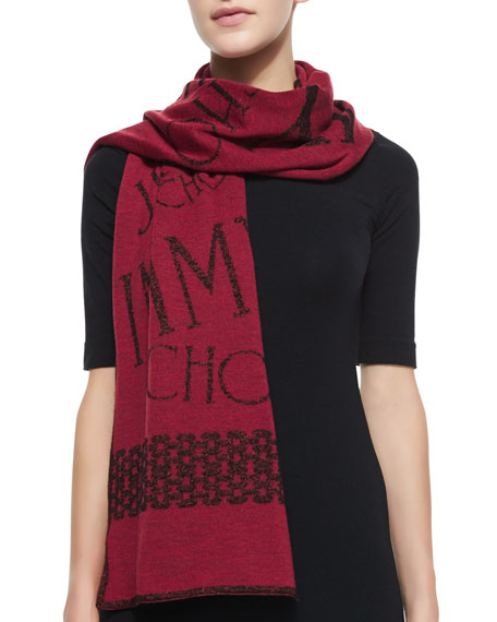 Woven Knit Scarf, Burgundy