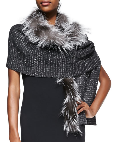 Jimmy Choo Knit Scarf with Fox Fur Trim, Gray