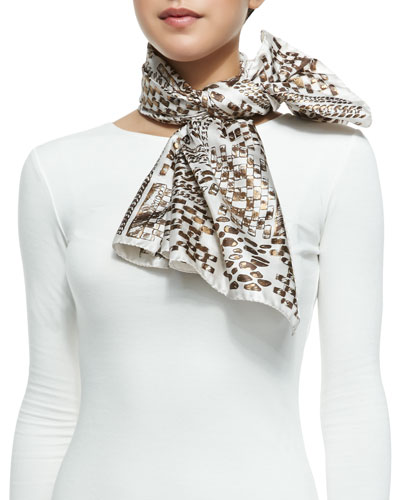 Jimmy Choo Sketch Printed Foulard Scarf, White/Gold