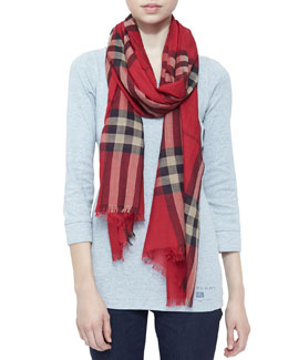 Burberry Giant Check Gauze Scarf, Vermillion Red