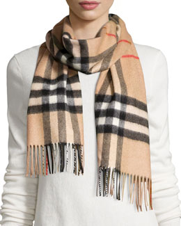 Burberry Giant Iconic Check Cashmere Scarf, Camel
