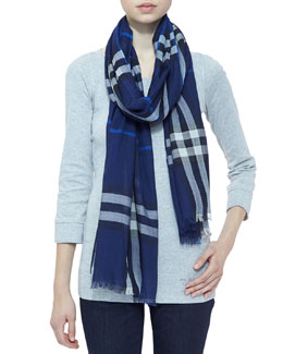 Burberry Giant Check Gauze Scarf, Bright Navy