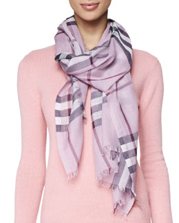 Burberry Giant Check Gauze Scarf, Pink Heather