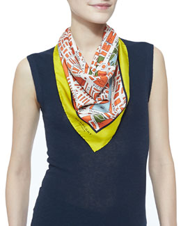 Burberry London Map-Printed Square Silk Scarf, Bright Clementine