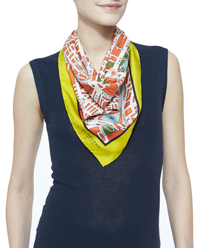 Burberry Prorsum London Map-Printed Square Silk Scarf, Bright Clementine