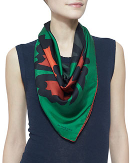 Burberry Large Floral-Print Silk Scarf, Bright Cedar Green
