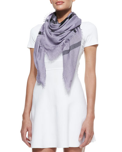 Burberry Overdyed Check Square Scarf, Purple