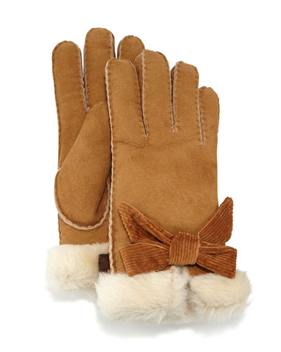 UGG Australia Bailey Shearling Fur Bow Gloves