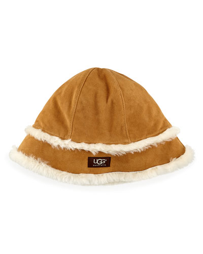 UGG Australia City Bucket Hat with Shearling, Chestnut