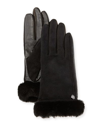 UGG Australia Classic Fur-Trim Suede/Leather Smart Gloves, Black